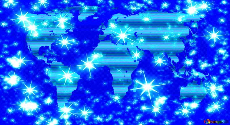 World map blue twinkling stars night pattern №54504