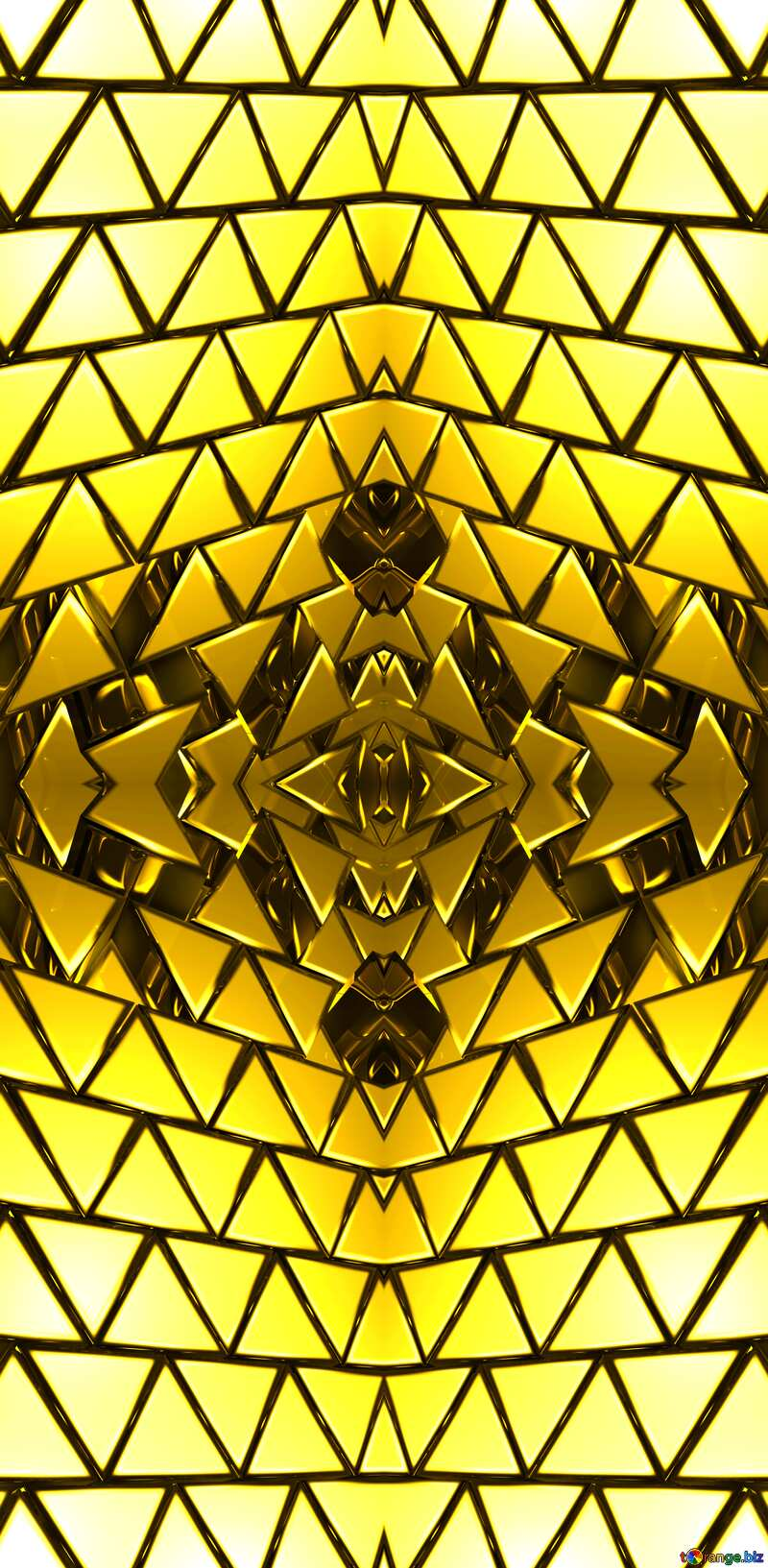 3D abstract geometric volumetric triangle gold metal background Pattern Techno Banner №54502