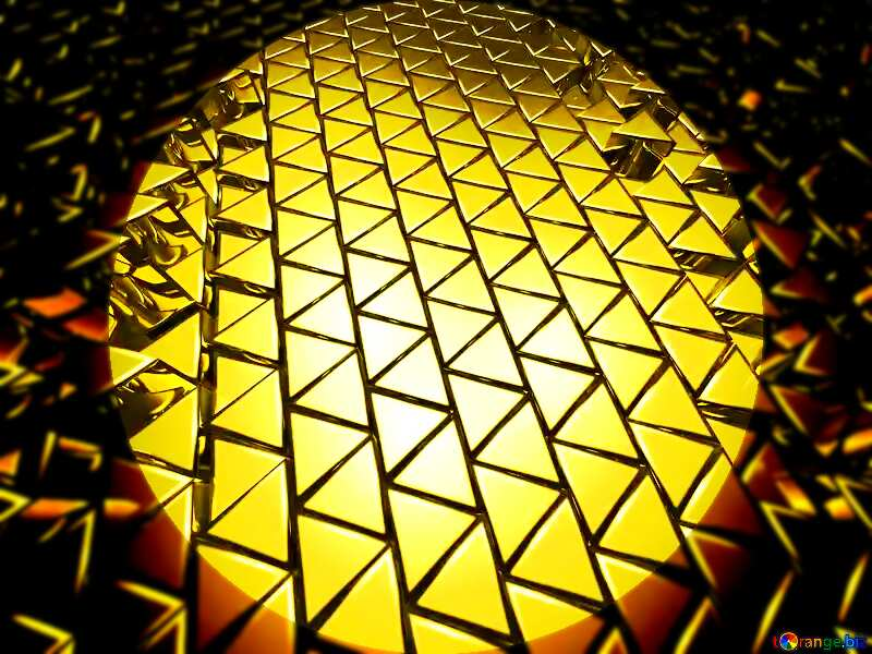 3D abstract geometric volumetric triangle gold metal background Presentation Infographic Template №54502