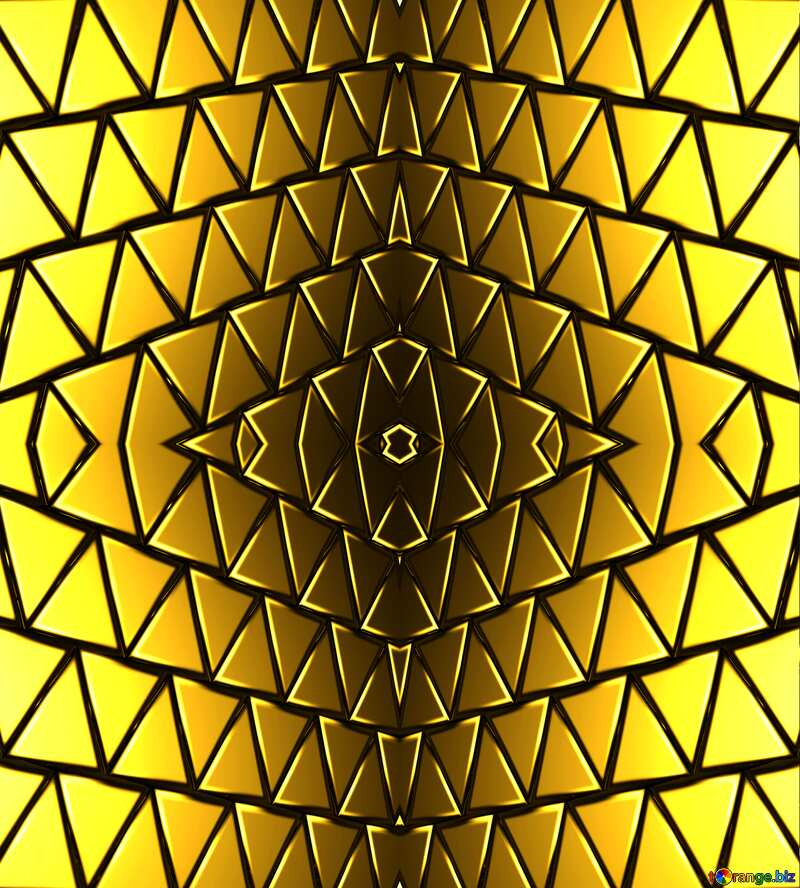 3D abstract geometric volumetric triangle gold metal background Rendering Pattern Technology №54502