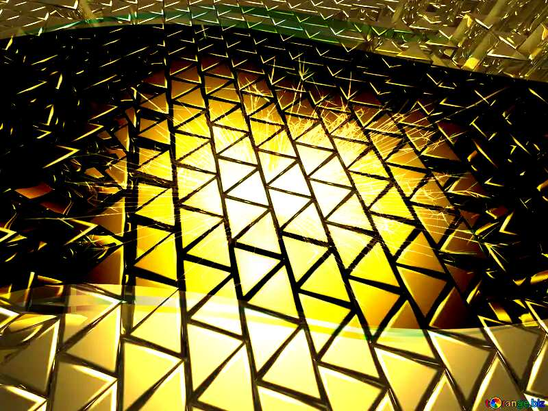 3D abstract geometric volumetric triangle gold metal background Sparks Border Template №54502