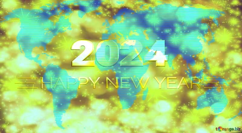 World map Shiny happy new year 2021 gold stars №54504
