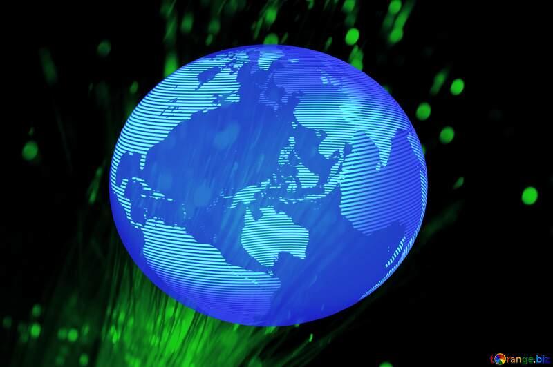 Modern global world earth concept planet symbol dark blue Green Technology Background №41330