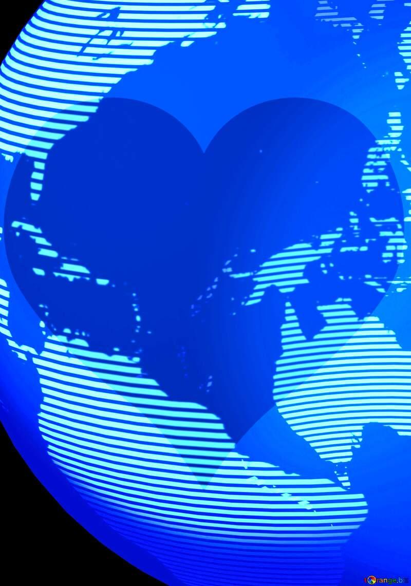 Modern global world earth concept planet symbol Blue Love Heart Background №54515