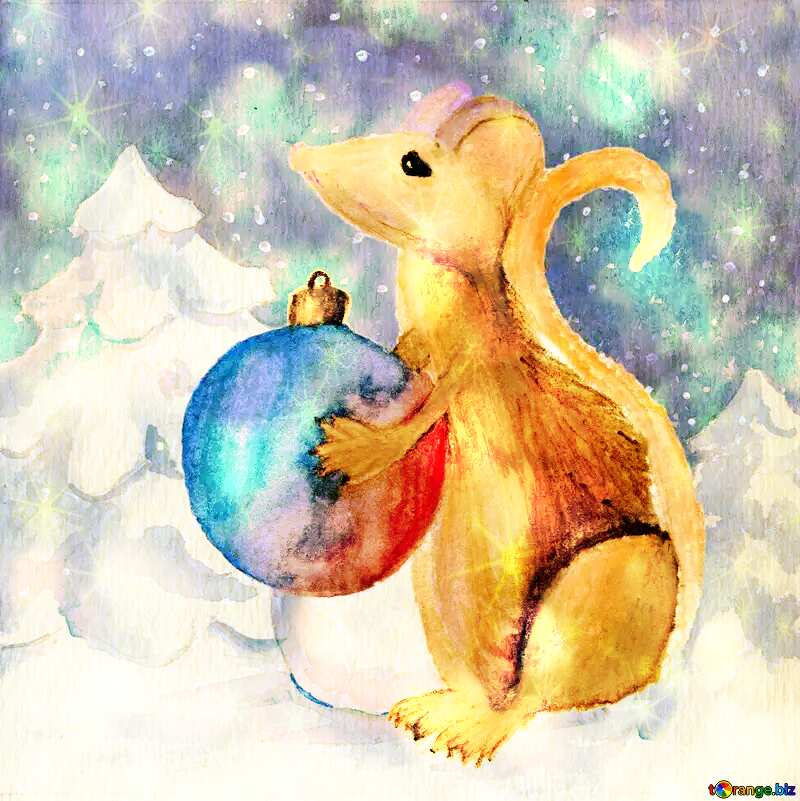 Chinese new year 2020 year of the rat Christmas Snow forest background. Hand drawing painted watercolor hobby card. Winter sale of goods banner. Mouse Holds a gift in hands. Golden Christmas twinkling stars background №54497