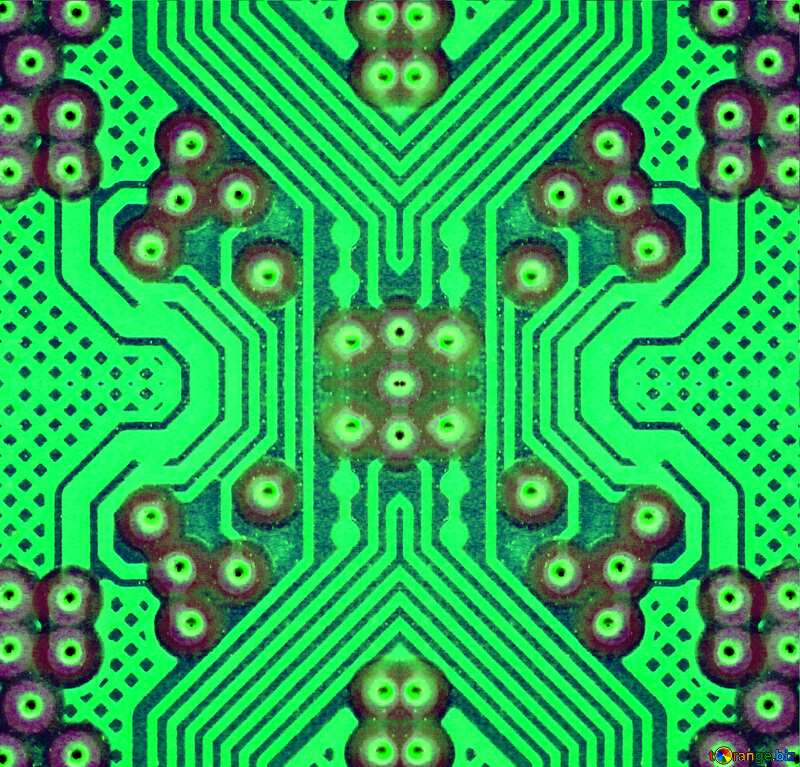 circuit electronic board green lines fragment effect pattern №51568
