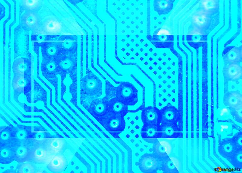 circuit electronic board light blue stained micro chip business №51568
