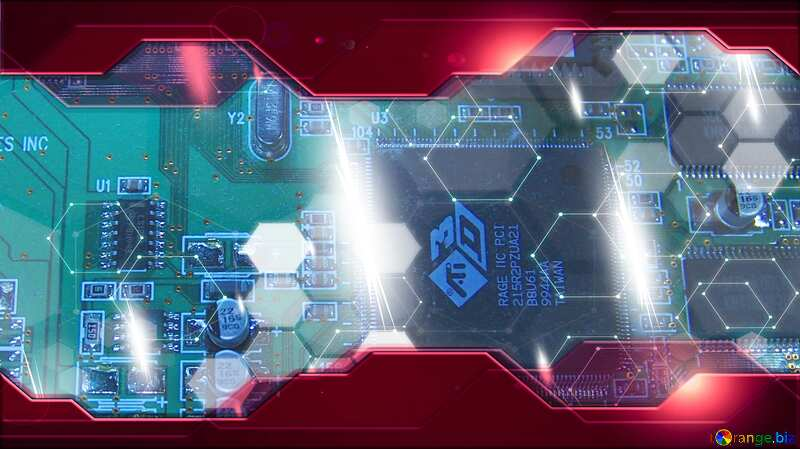circuit electronic board texture Red hi tech elements Technology business concept №666