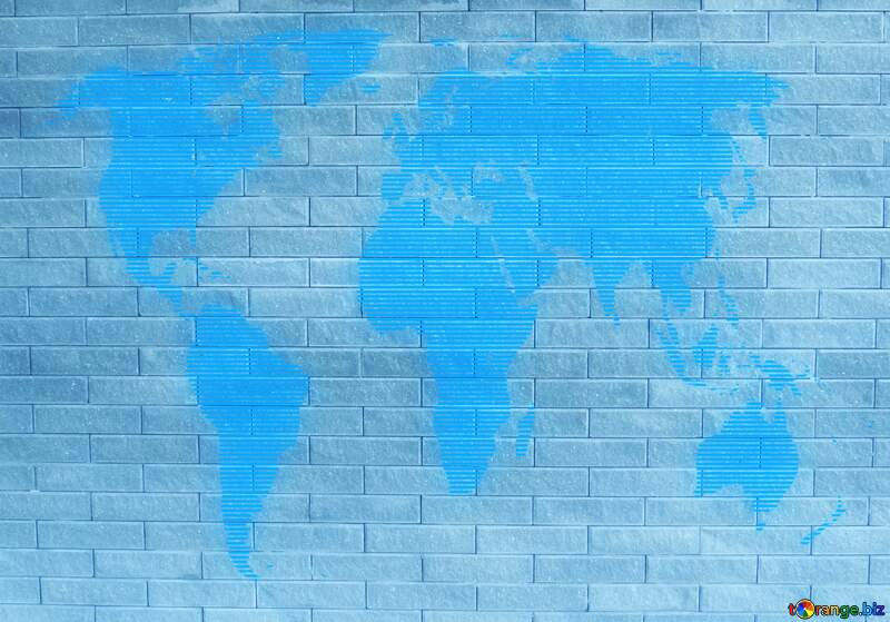 gray brick wall texture World map concept global network line №50483