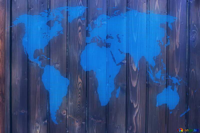 Texture dark wood panels World map concept global network line №51775