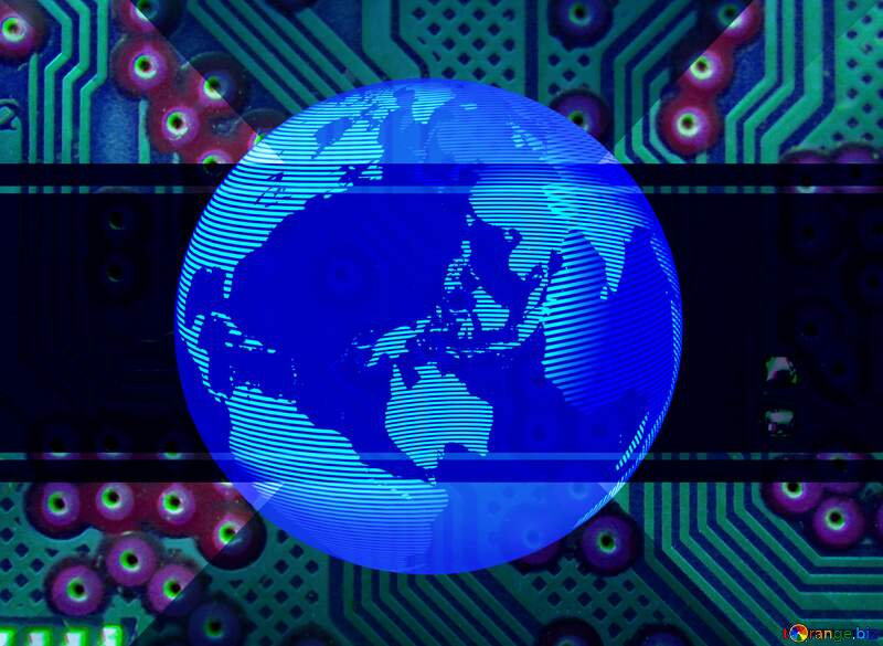 Modern global world earth concept planet symbol dark blue Circuit Computer Board Electronic Lines Micro Chip Toned №51568