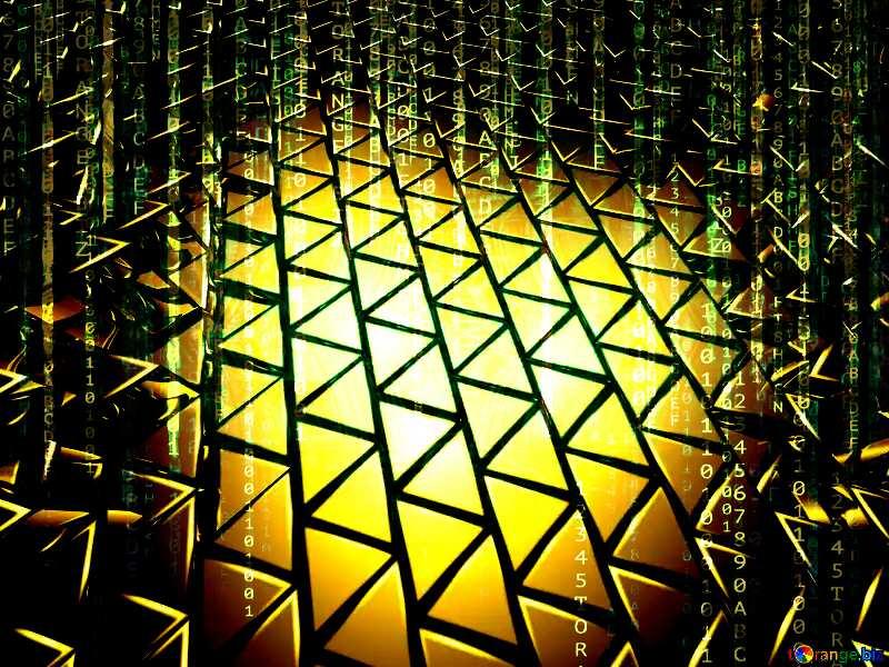 3D abstract geometric volumetric triangle gold metal background Matrix Style Binary Digital Energy Enterprise Electronic Electricity Tech №54502