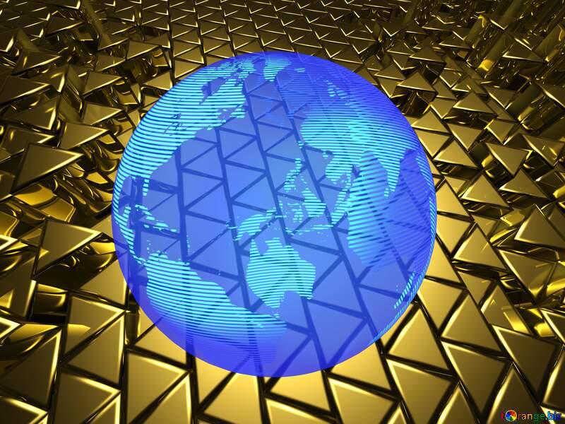 Modern global world earth concept planet symbol dark blue 3D Digital Electricity Energy Enterprise Geometric Gold Metal Volumetric №54502