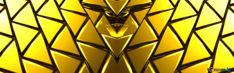 3D abstract geometric volumetric triangle gold metal background Futuristic Geometric Generated banner №54502