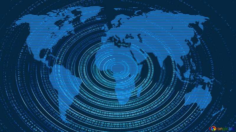 Futuristic Digital Binary data. World map background №49672
