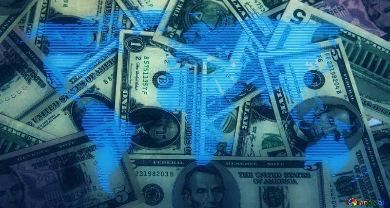 World money  blue map concept background dollars №1502