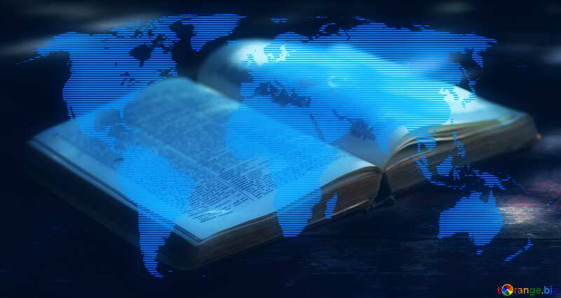 Open book  World map blue concept background №33977