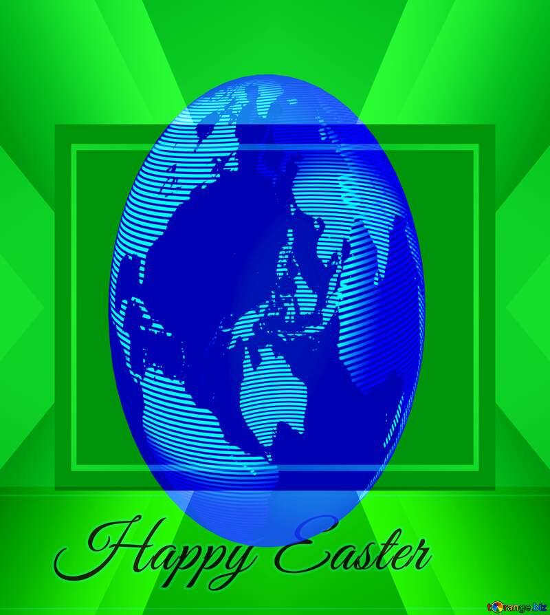 Inscription Happy Easter Design Earth egg Frame Global Concept Promotion Template №49668
