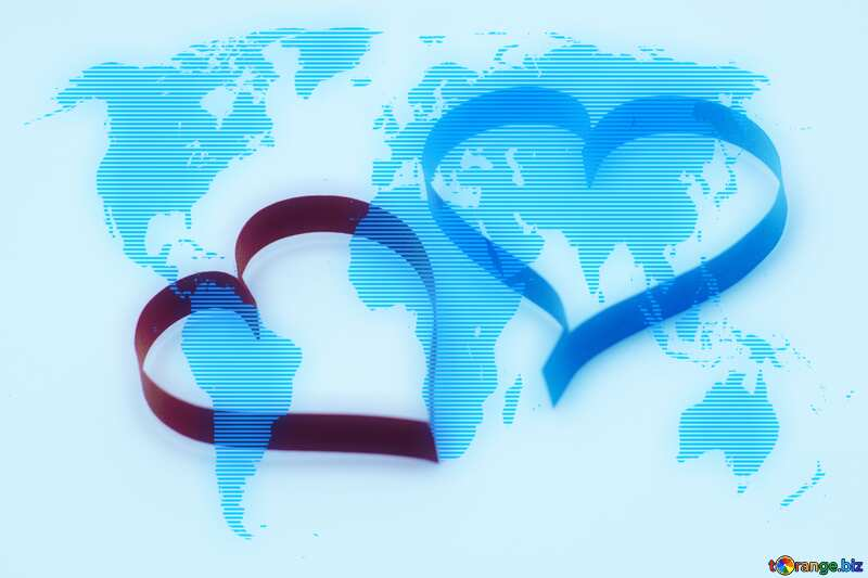 Two hearts World map concept background №16761
