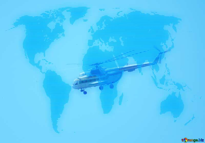Military helicopter World map blue background №44505