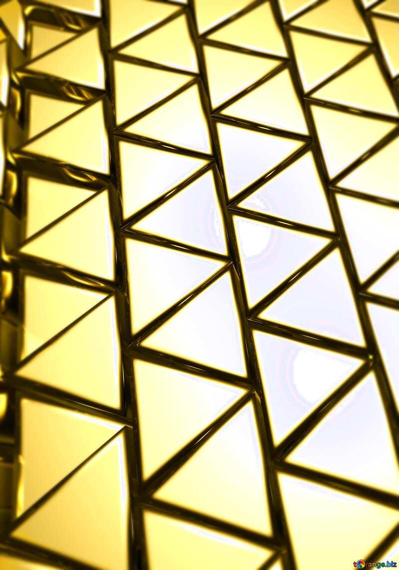 3D abstract geometric volumetric big triangle gold metal background №54502