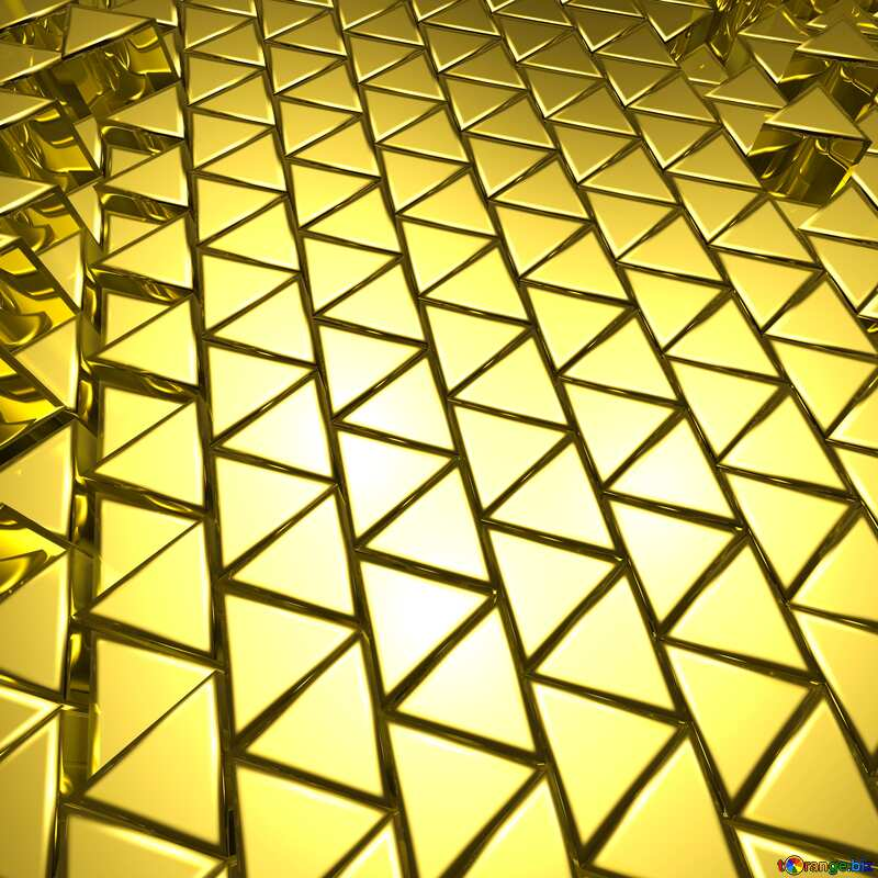 3D abstract geometric volumetric triangle gold metal background №54502