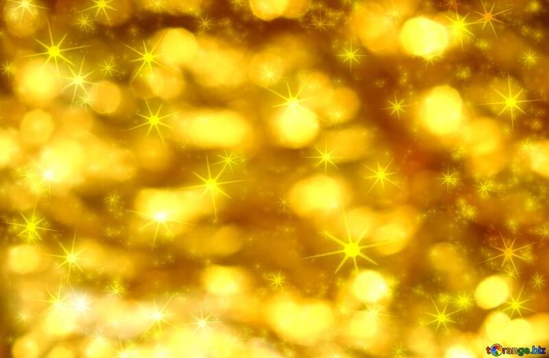 Golden Christmas twinkling stars background №37824
