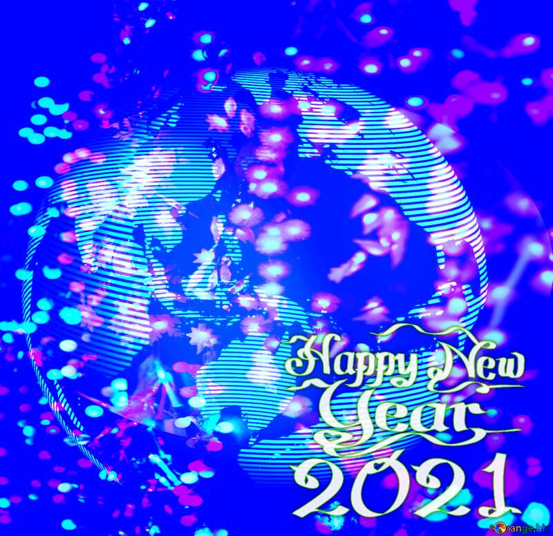 Modern global world earth concept planet symbol Design Futuristic Happy New Year 2021 blue №54515
