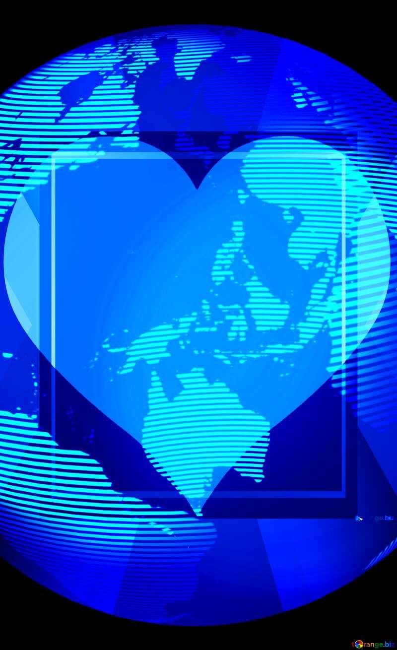 Modern global world earth concept planet symbol Heart Love Frame Template №54515