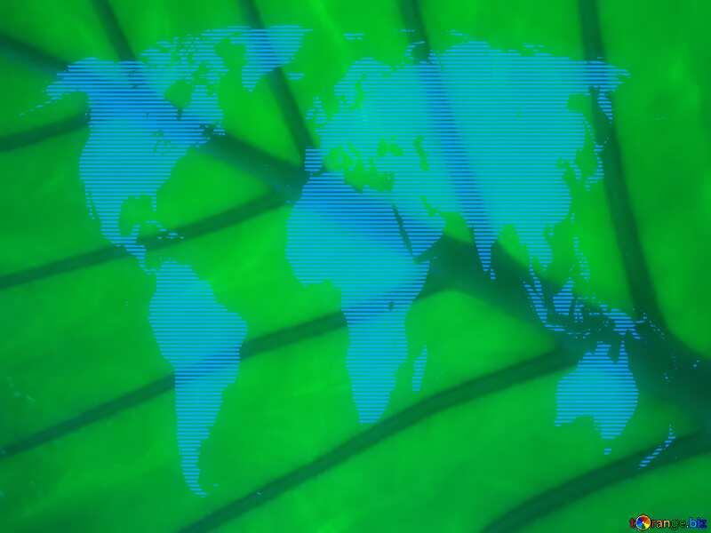 Texture green leaf World Map №29287