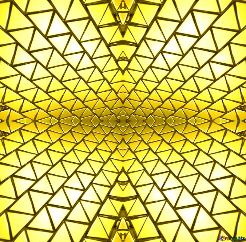 3D abstract geometric volumetric triangle gold metal background Futuristic Fractal Generated Mechanic Pattern Space Technologic Style №54502