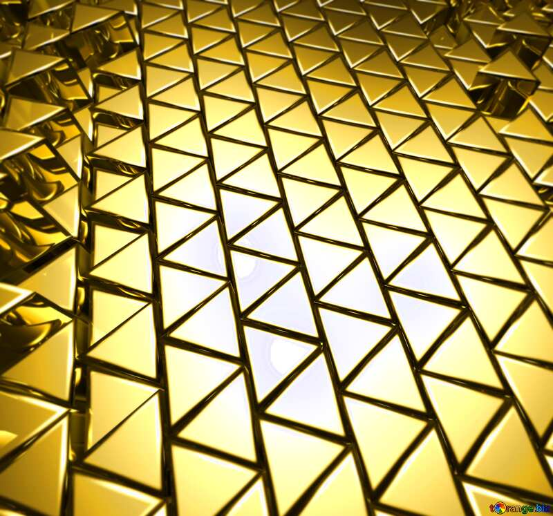 3D abstract geometric volumetric triangle gold metal background Blurred №54502