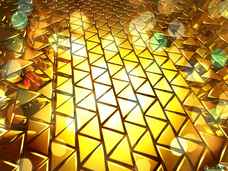 3D abstract geometric volumetric triangle gold metal background Bokeh Christmas №54502