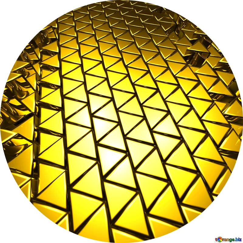 3D abstract geometric volumetric triangle gold metal background Circle Frame №54502