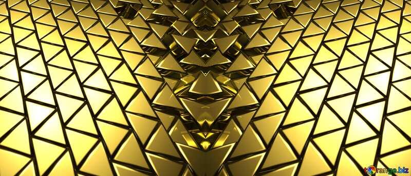 3D abstract geometric volumetric triangle gold metal background dark pattern №54502