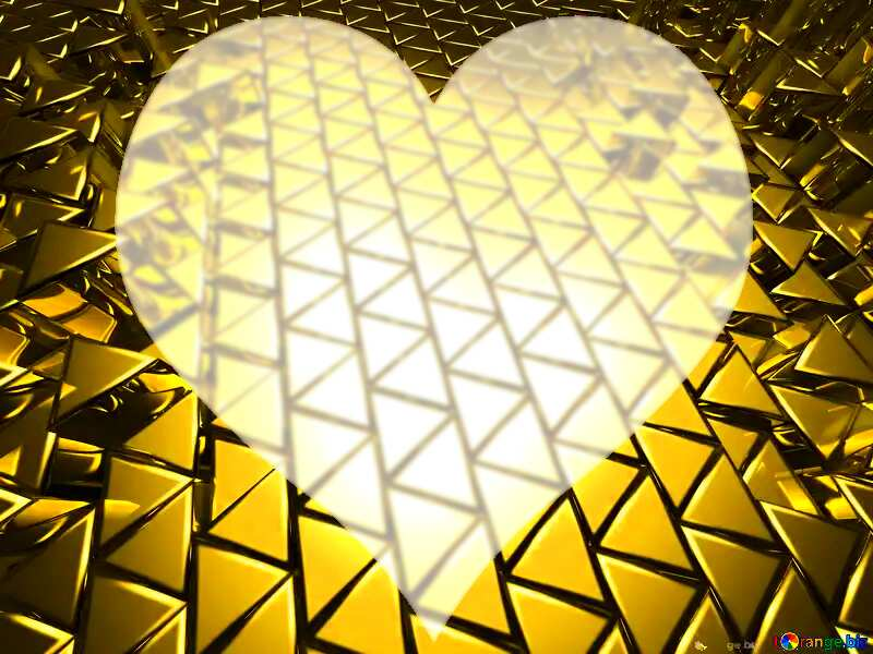 3D abstract geometric volumetric triangle gold metal background Heart Love №54502