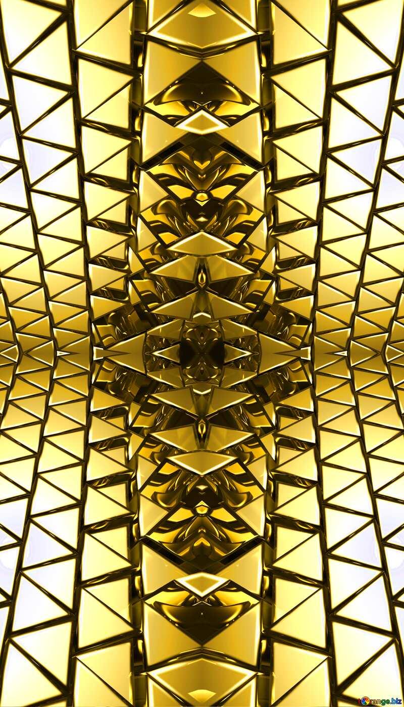 3D abstract geometric volumetric triangle gold metal background Kaleidoscope Pattern №54502
