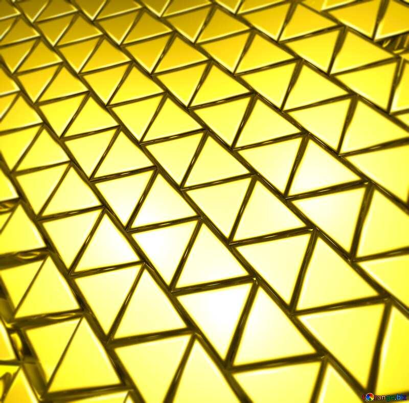 3D abstract geometric volumetric triangle gold metal background light blur №54502