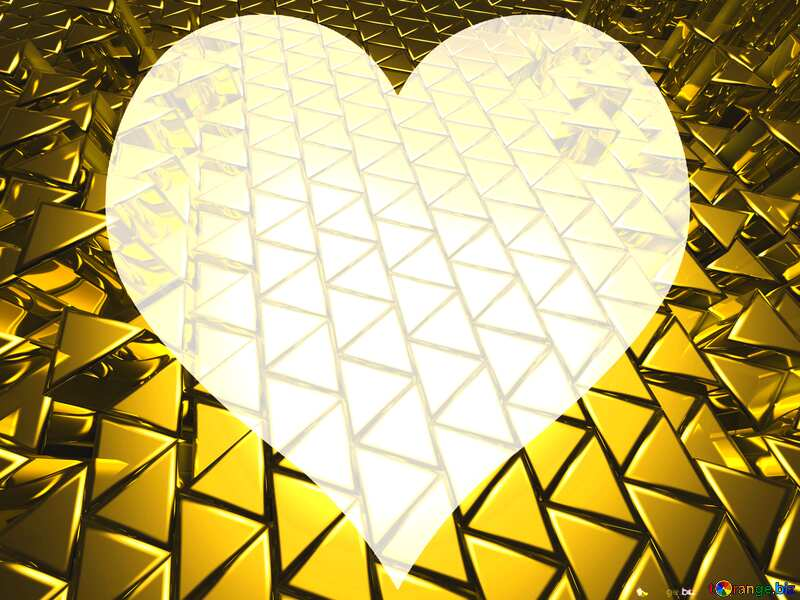 3D abstract geometric volumetric triangle gold metal background Love Texture №54502