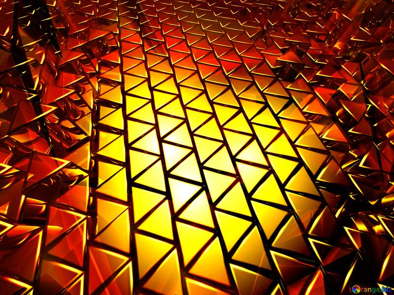 3D abstract geometric volumetric triangle gold metal background Polygonal Red №54502