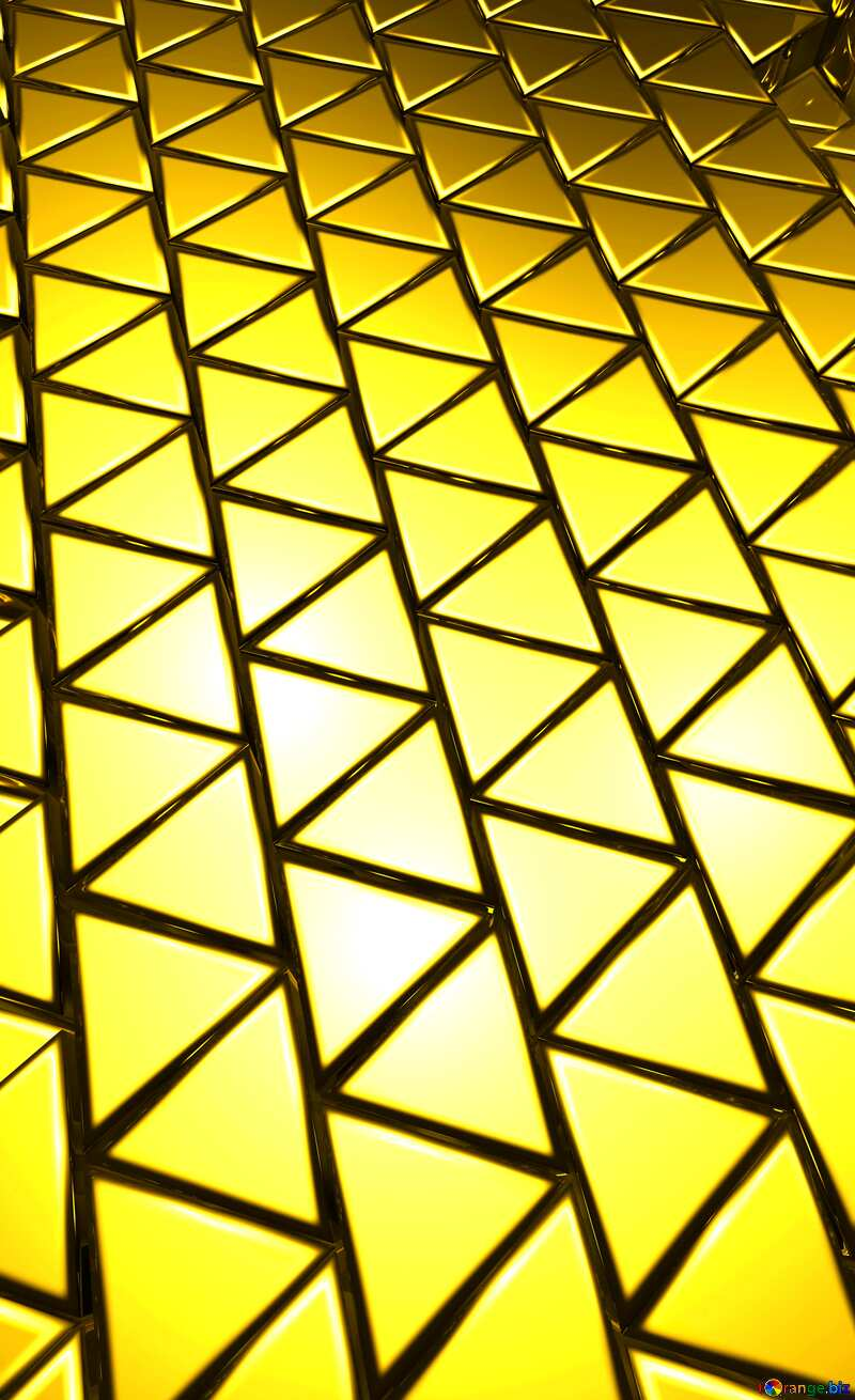 3D abstract geometric volumetric triangle gold metal background Vertical №54502