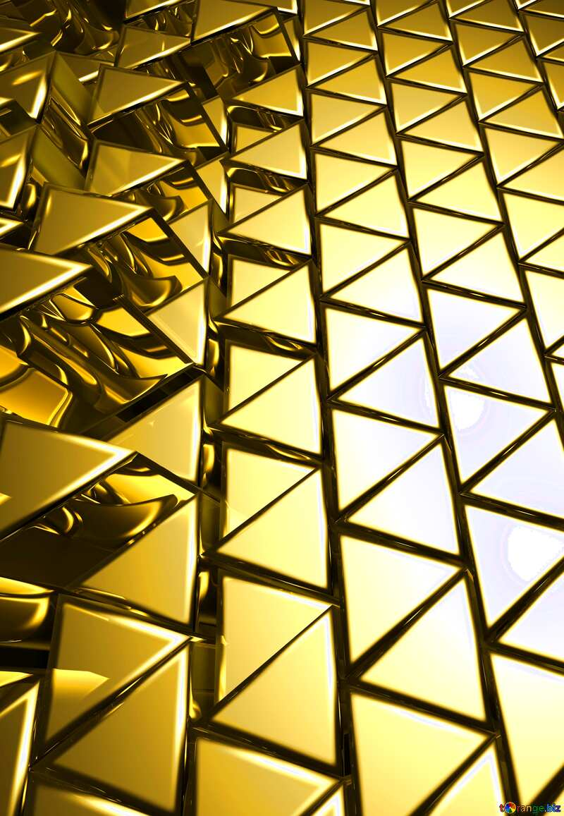 3D abstract geometric volumetric triangle gold metal background Vertical left №54502