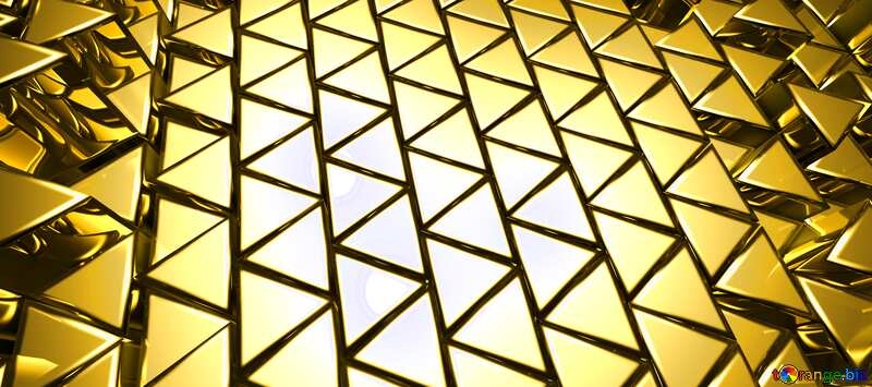 3D abstract geometric volumetric triangle gold metal horizontal background №54502