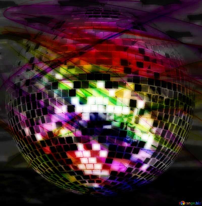 Disco ball lamp fractal dark music background №53395