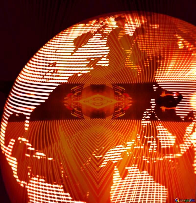 Modern global world earth concept planet symbol lights lines curves frame pattern template №54515
