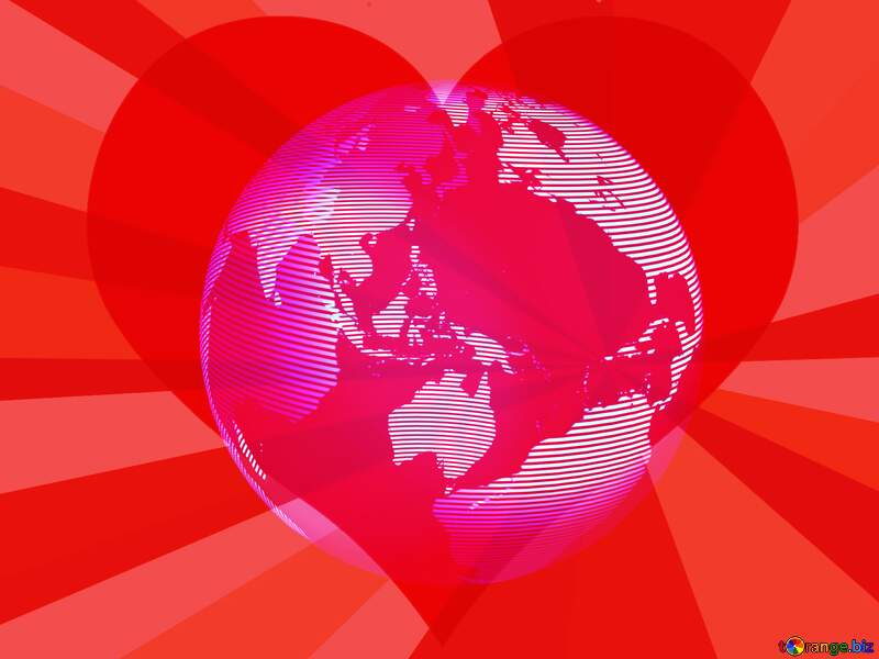 Modern global world earth concept planet symbol Love Rays Red Background Card №54515