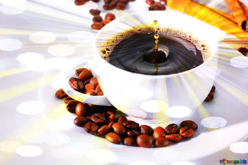 A drop of coffee cup  sunlight rays background №30848