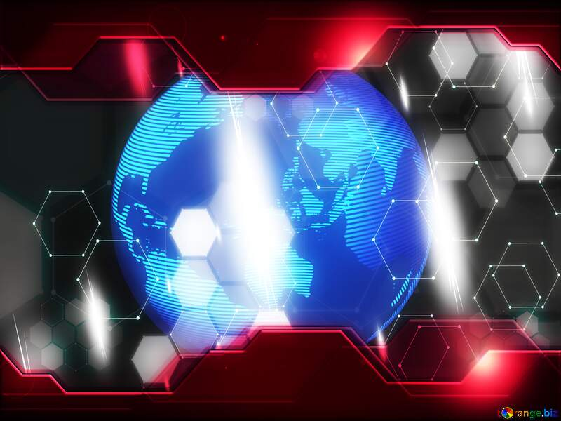 Modern global world earth concept planet symbol Hi-tech Red Technology Background Business №54515