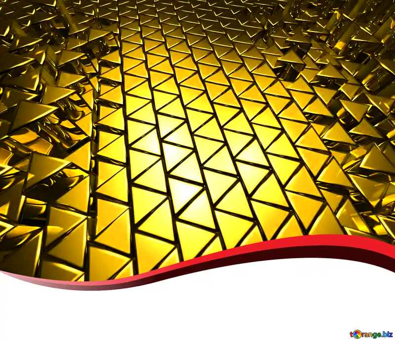 3D abstract geometric volumetric triangle gold metal background Ribbon Red Border Card Blank №54502