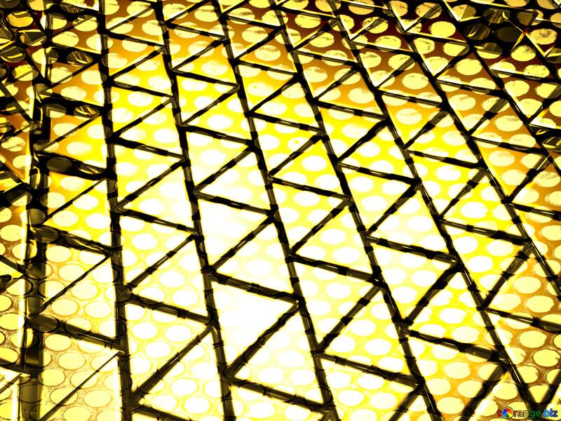 3D abstract geometric volumetric triangle gold metal background Strong Steel Industry Hole №54502